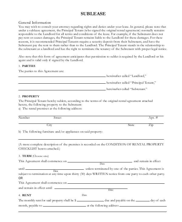 sublease contract templates