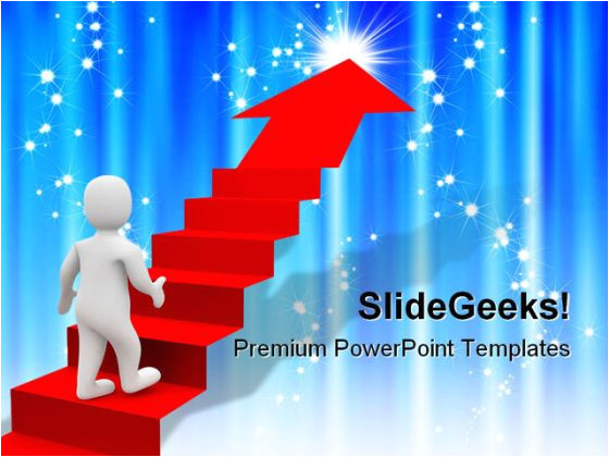 success powerpoint templates man and red stairs success powerpoint backgrounds and templates 1210 printable