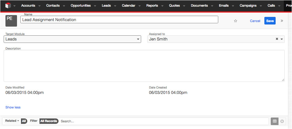 Sugarcrm Email Templates Creating A New Lead Alert In Sugarcrm Workflows Epicom
