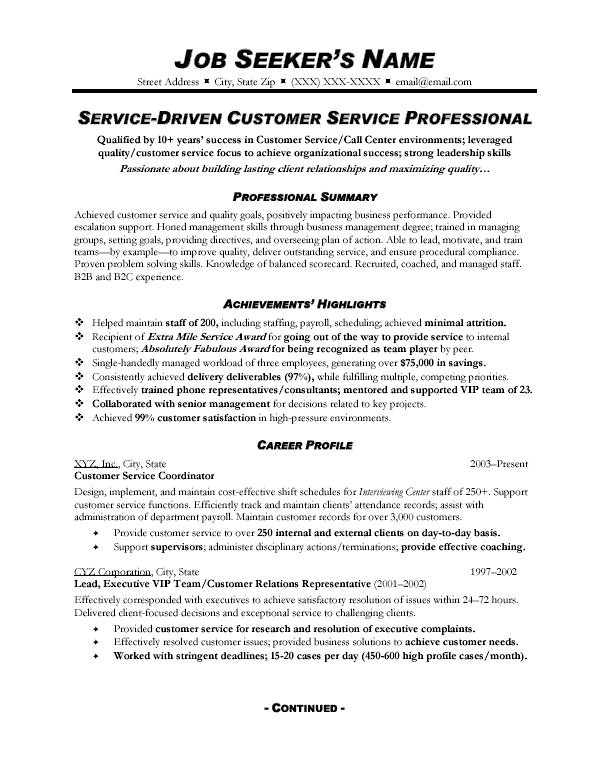customer service representative resume summary of qualifications