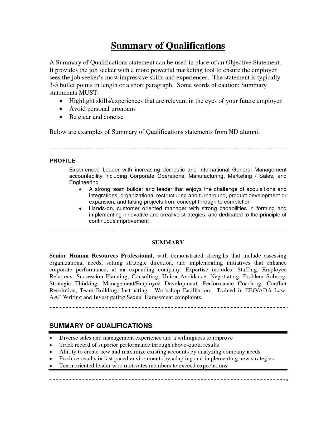 summary of qualifications sample resume accounting
