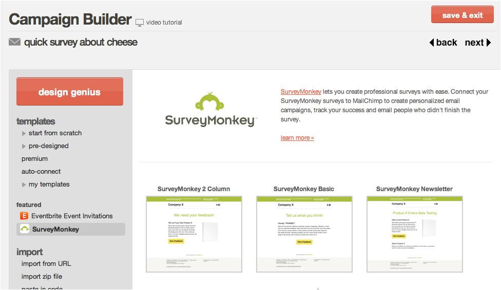 Survey Monkey Template Mailchimp Integrates with Surveymonkey