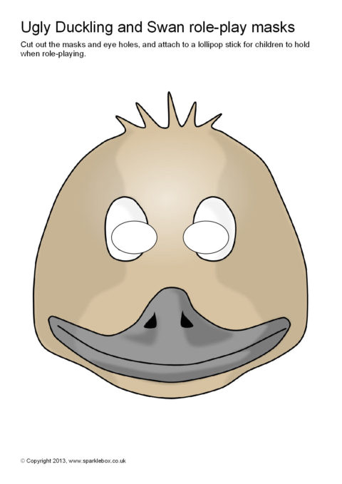 Swan Mask Template Ugly Duckling and Swan Role Play Masks Sb9168 Sparklebox