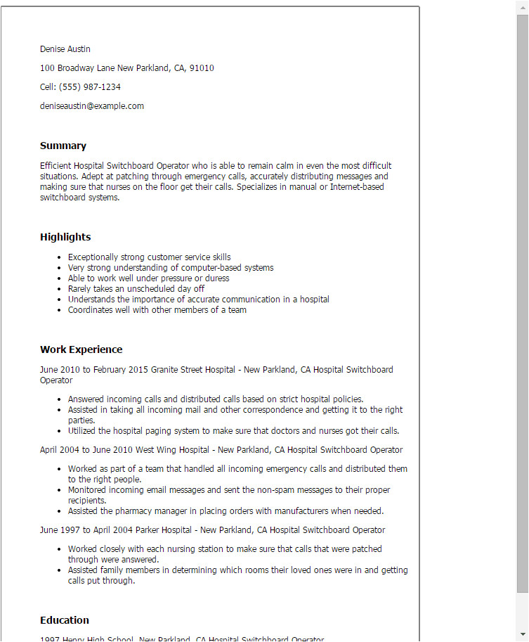 Switchboard Operator Resume Sample 1 Hospital Switchboard Operator Resume Templates Try