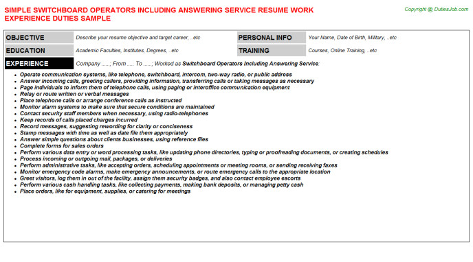 Switchboard Operator Resume Sample Switchboard Operator Resume Sample Samplebusinessresume