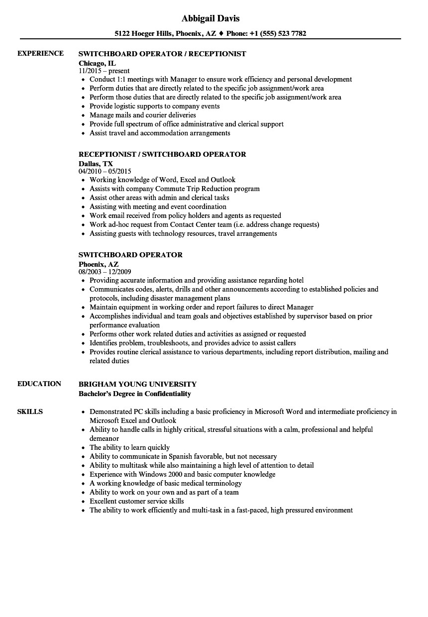 Switchboard Operator Resume Sample Switchboard Operator Resume Samples Velvet Jobs