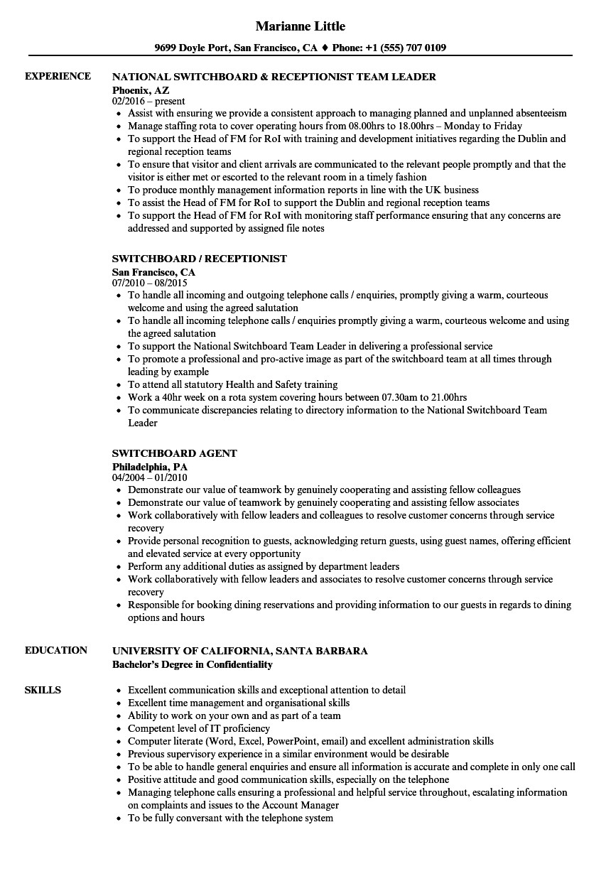 Switchboard Operator Resume Sample Switchboard Resume Samples Velvet Jobs