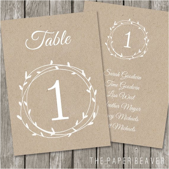 Table Numbers for Wedding Reception Templates Printable Table Number for Weddings Diy Kraft Rustic