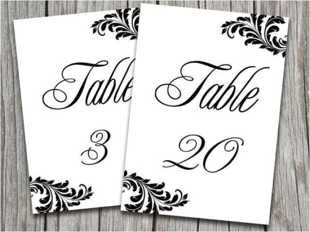 victorian wedding table number template ornate leaf black white microsoft word template editable text 5x7 wedding table number