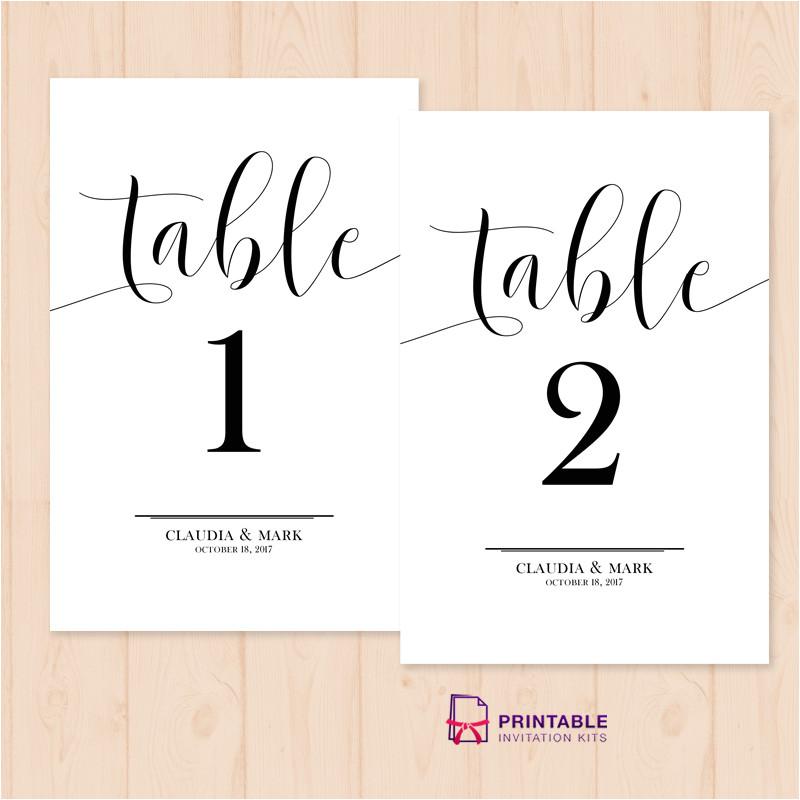 Table Numbers Template for Weddings Table Numbers Printable Pdf Template Wedding Invitation