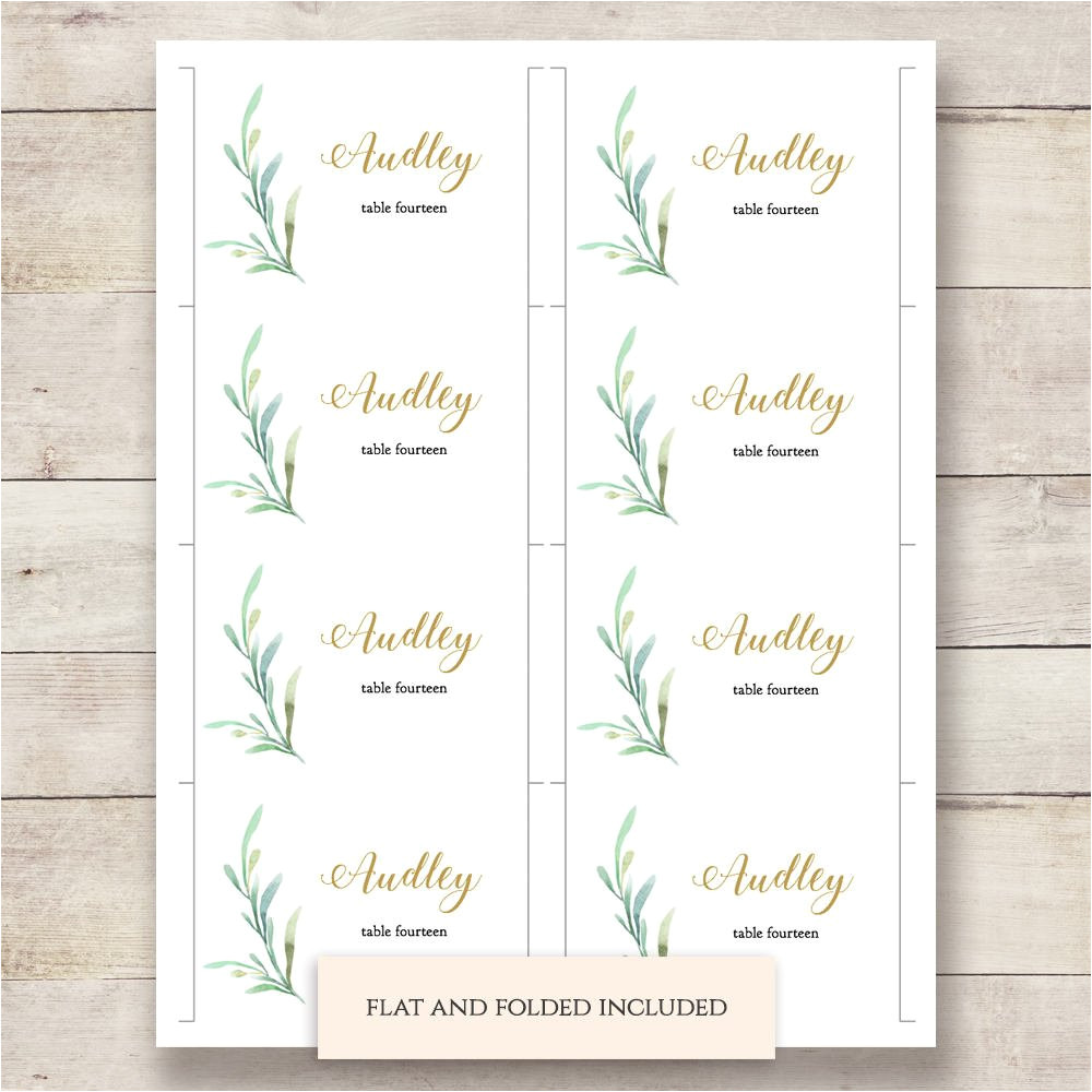 greenery wedding table place card