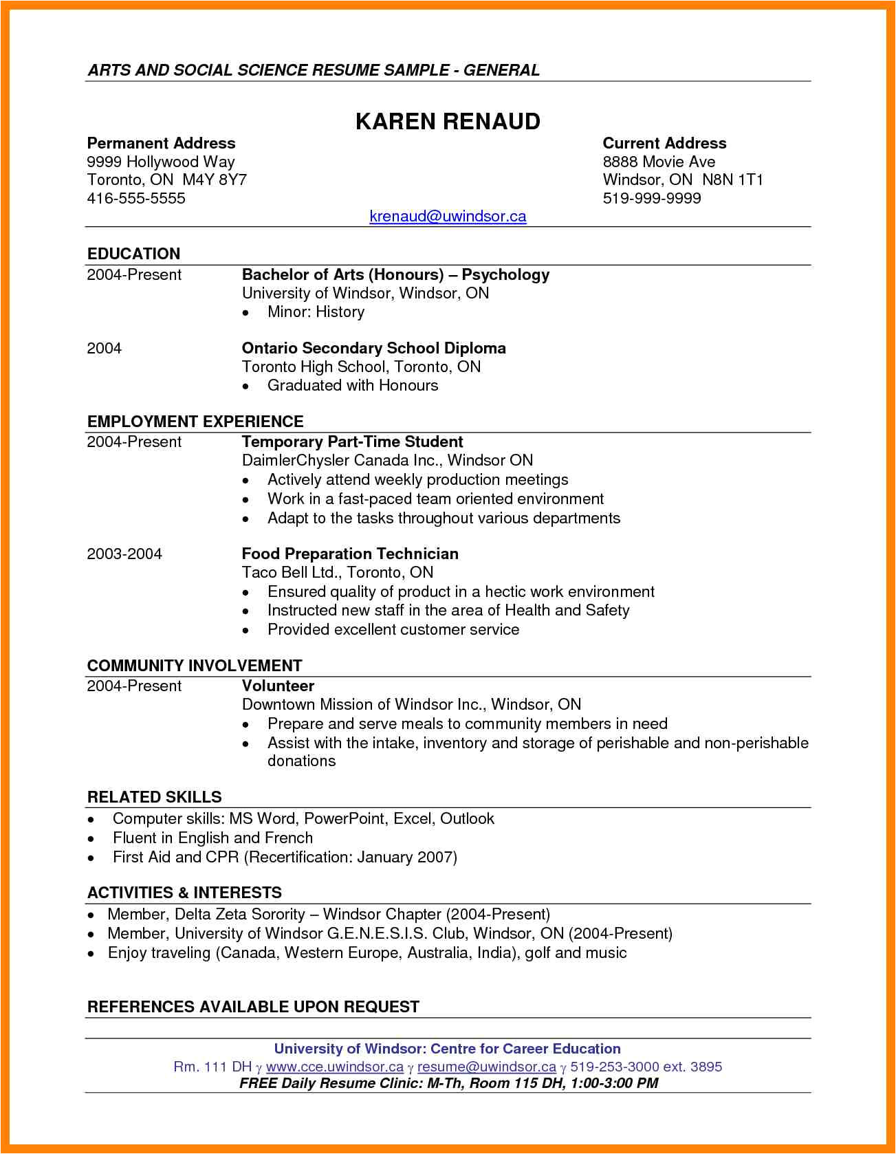 taco bell resume sample