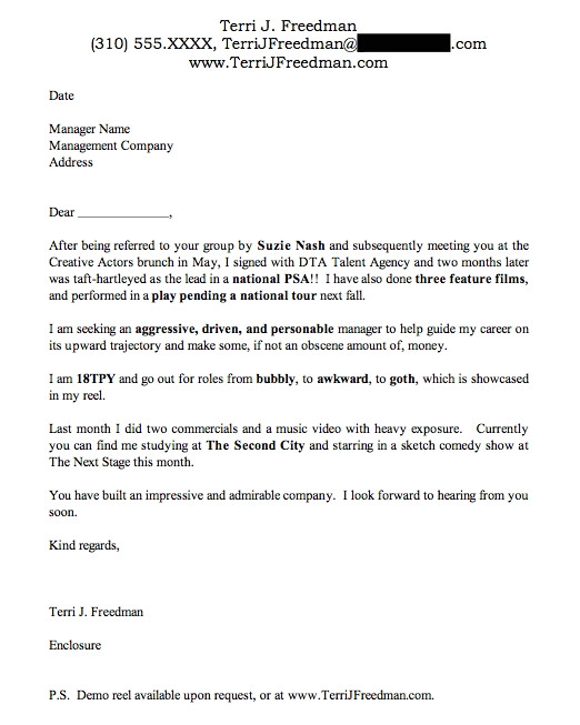 talent manager cover letter sample