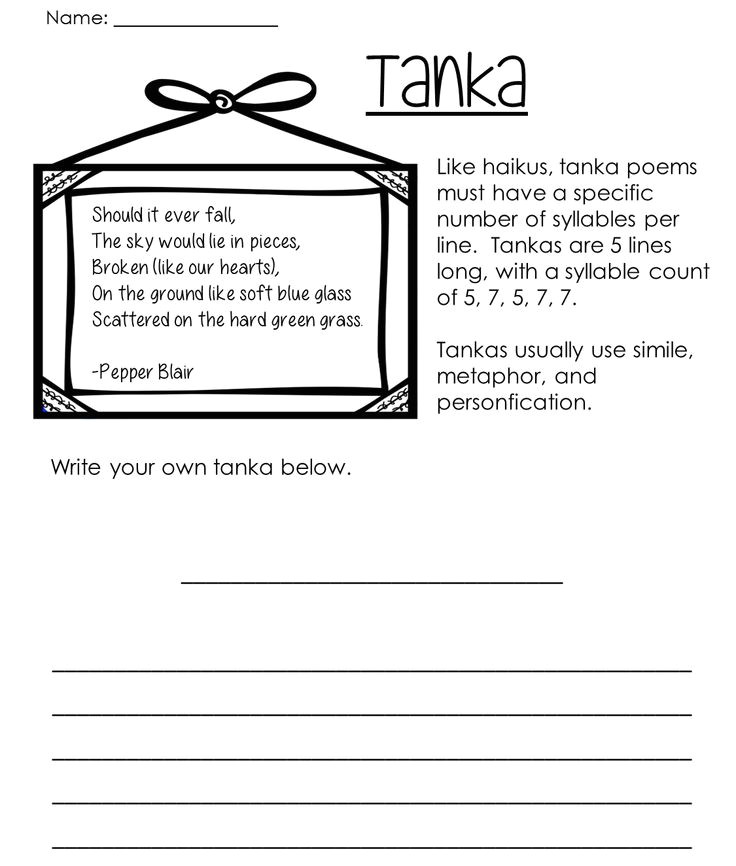 Tanka Poem Template 29 Best Images About Poetry 101 On Pinterest Different