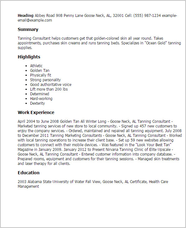Tanning Salon Cover Letter Professional Tanning Consultant Templates to Showcase Your
