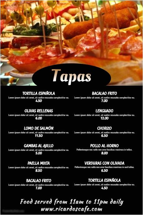 Tapas Menu Template Tapas Bar Restaurant Menu Template Postermywall