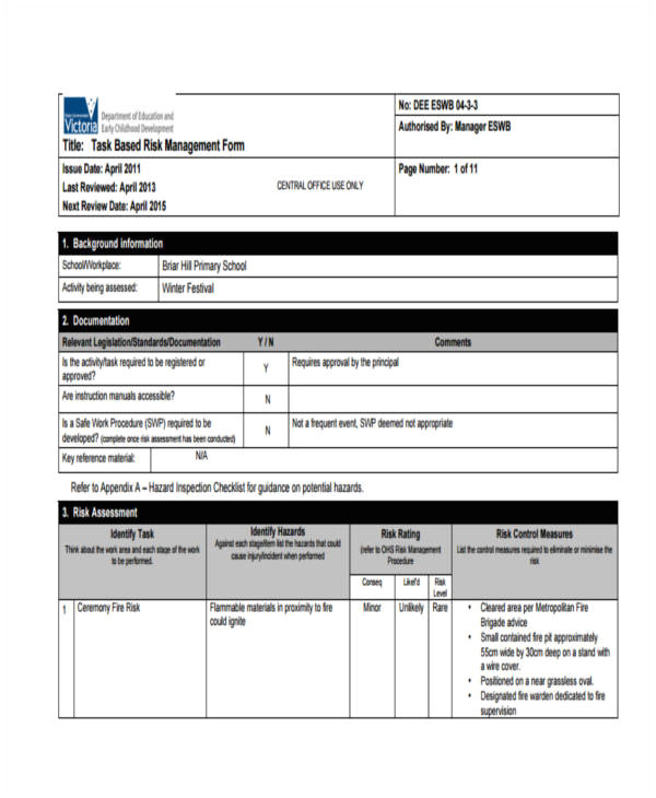 sample risk assessment forms