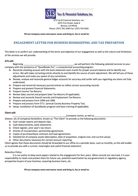 engagement letter for business bookkeeping and tax prepartion
