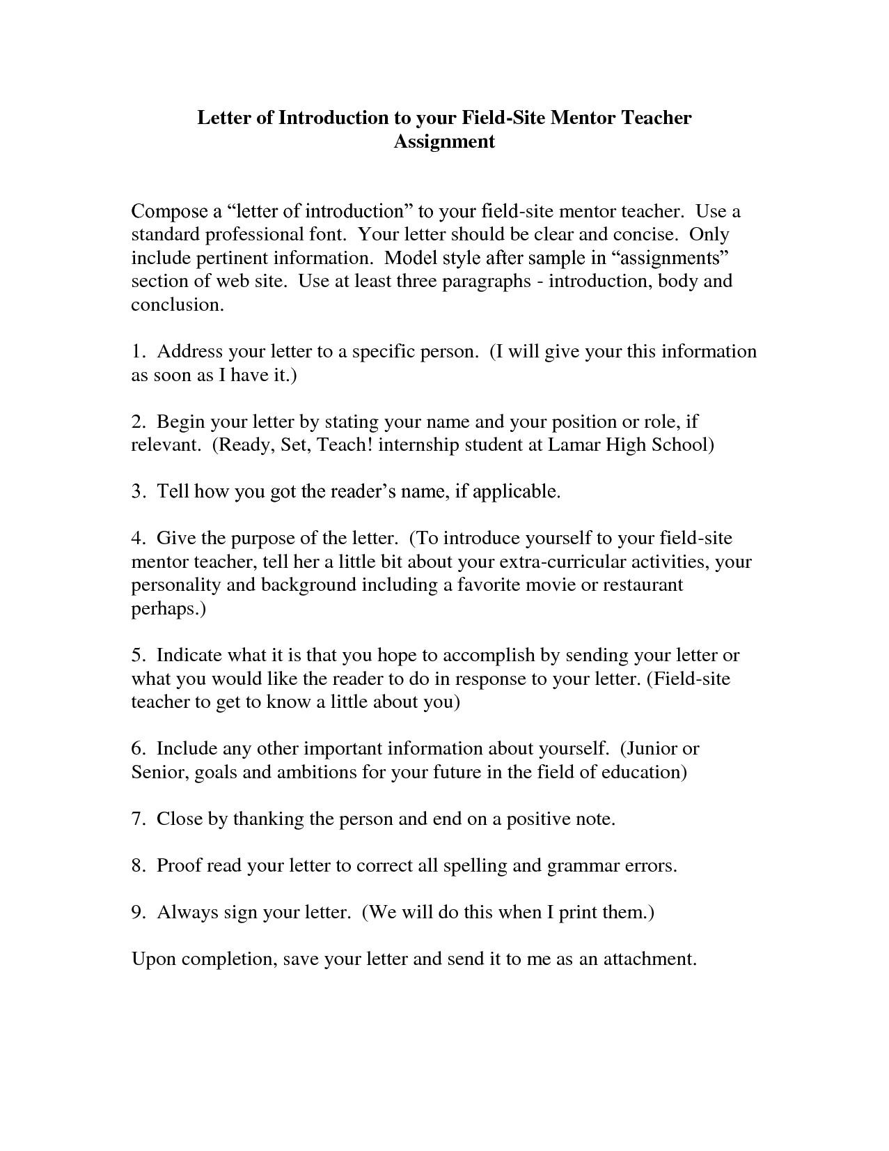 10 student teacher introduction letter