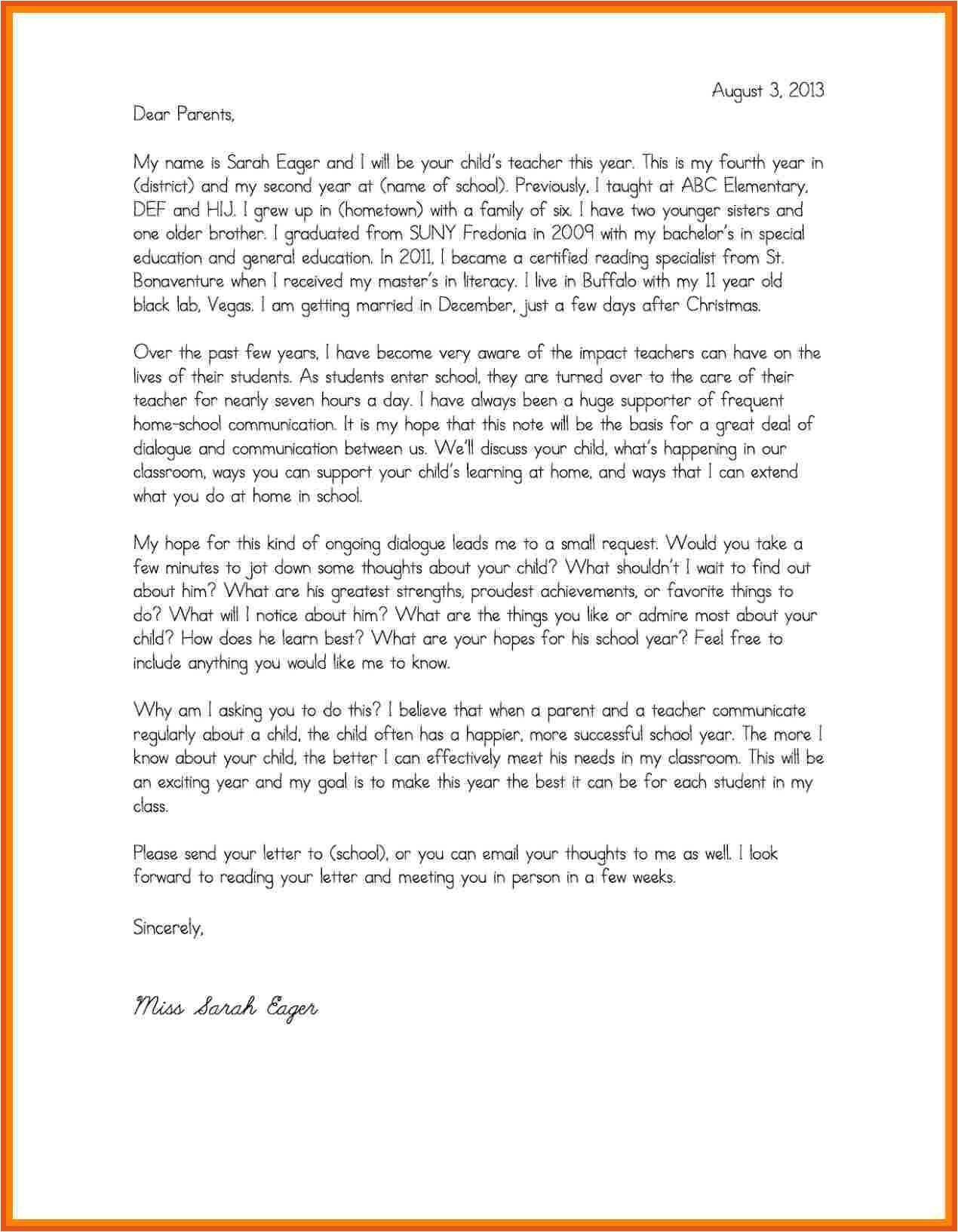 3 4 parent letter template
