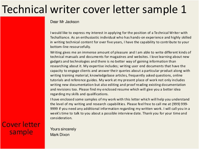 technical writer cover letter 31980334