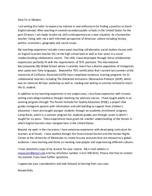 Tefl Cover Letter Example Tefl Cover Letter