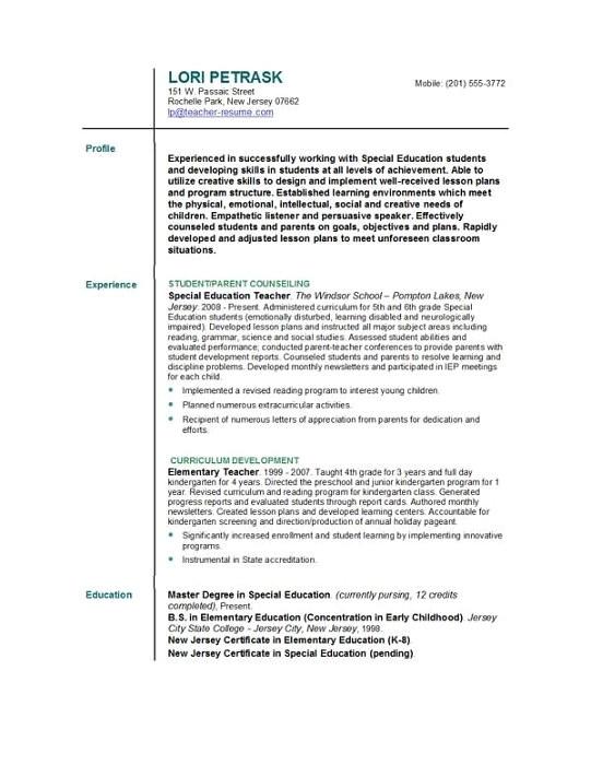 tefl resume sample