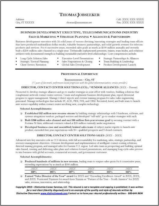 telecommunications resume