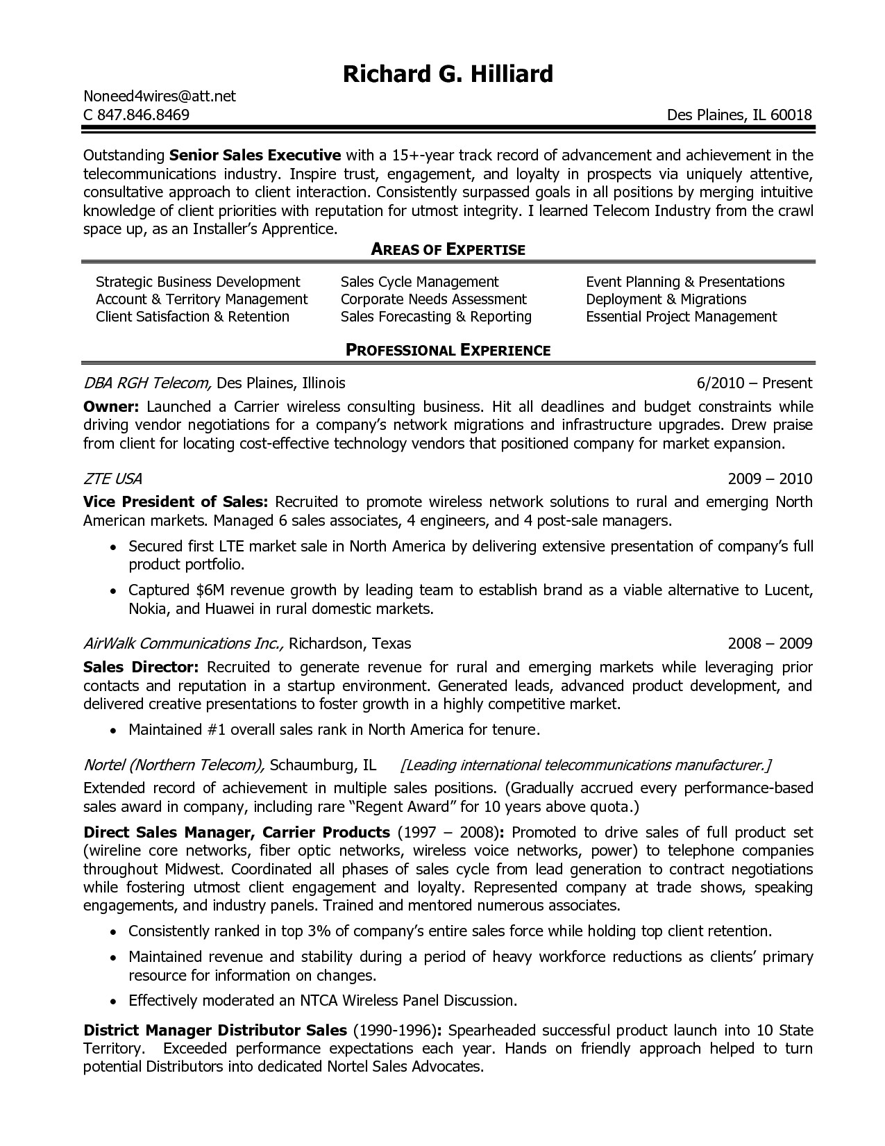telecommunications manager resume