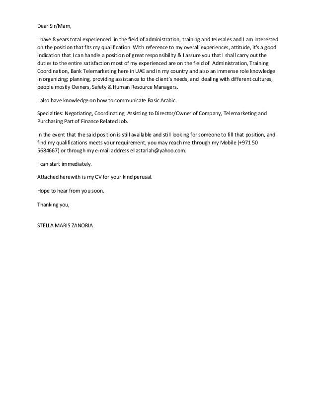8 years experienced in admin trainingtelesales cover letter 2stella maris zanoria