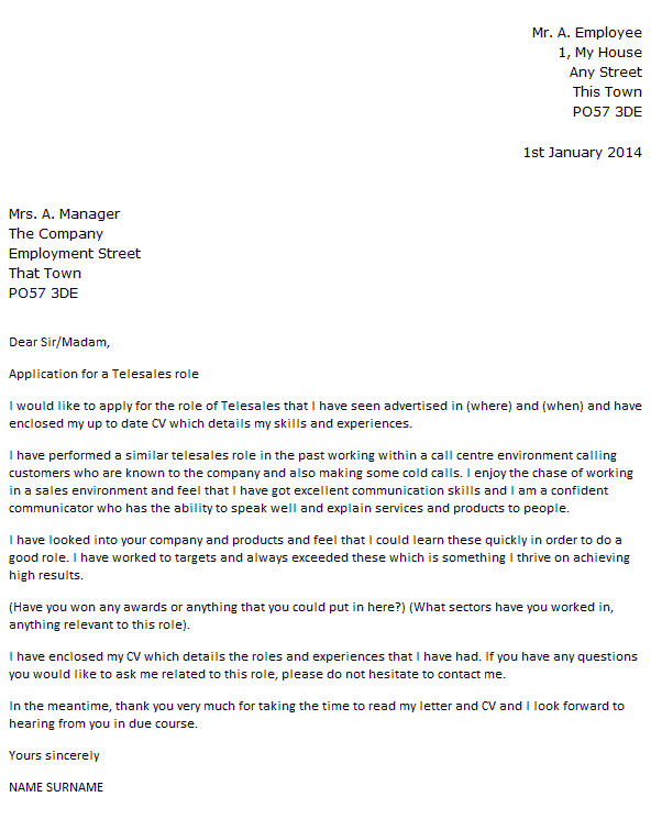 Telesales Cover Letter Telesales Cover Letter Example Icover org Uk