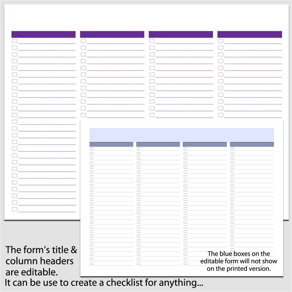 4 column checklist in landscape 8 12 e2 80 b3 x 11 e2 80 b3 b