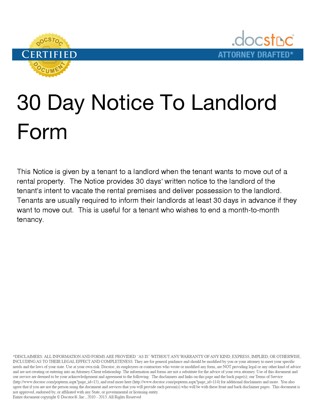 post 30 day notice template 35215