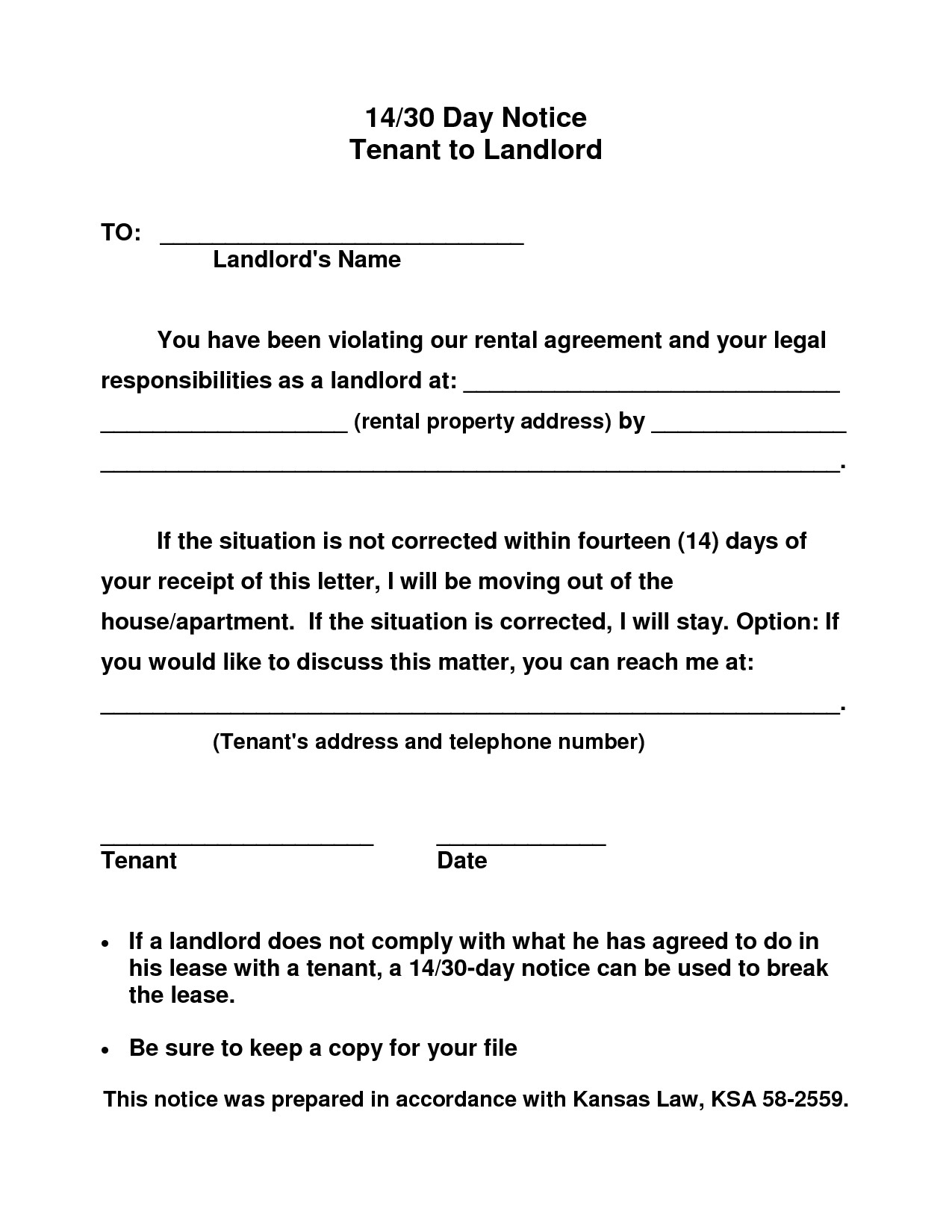 post 30 day notice to landlord template 487254