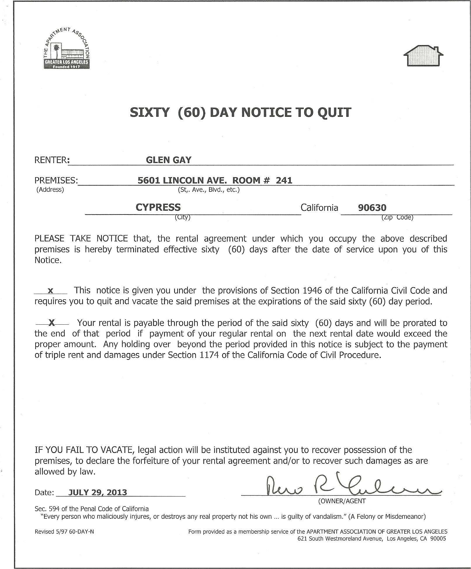60 day notice