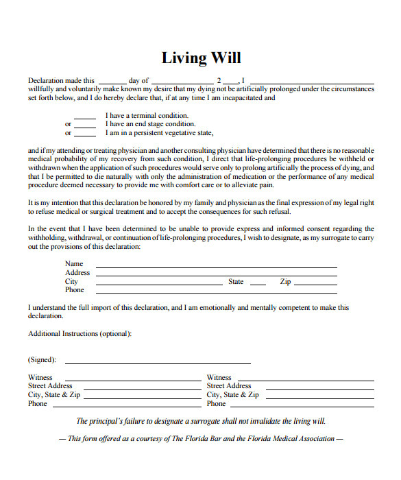living will template