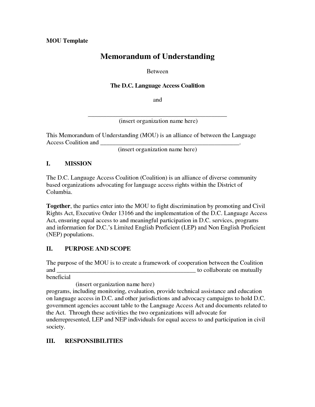 post example memorandum of understanding template 74736
