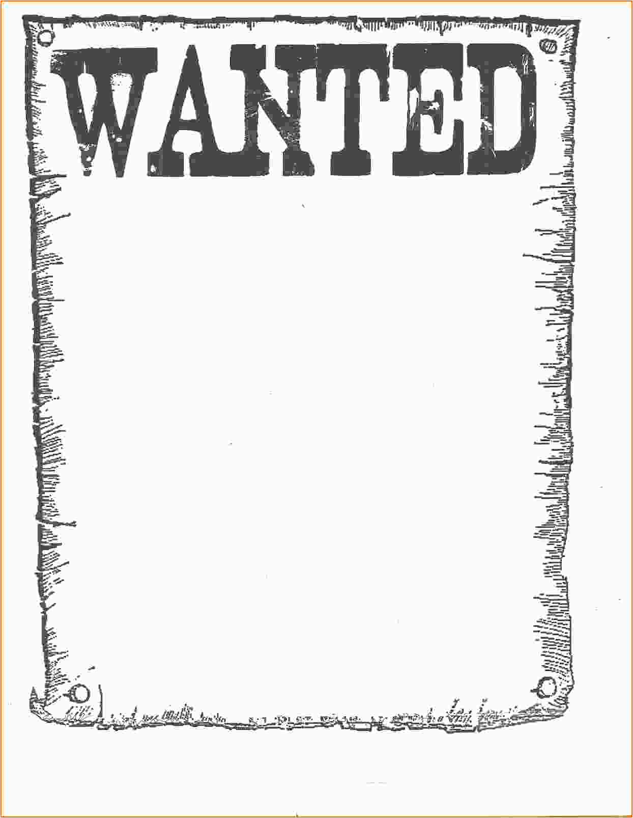 Template for A Wanted Poster 7 Wanted Poster Template Microsoft Word