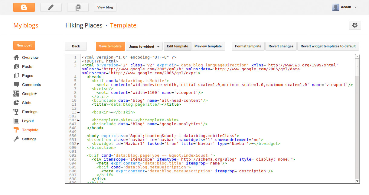 improvements to blogger template html