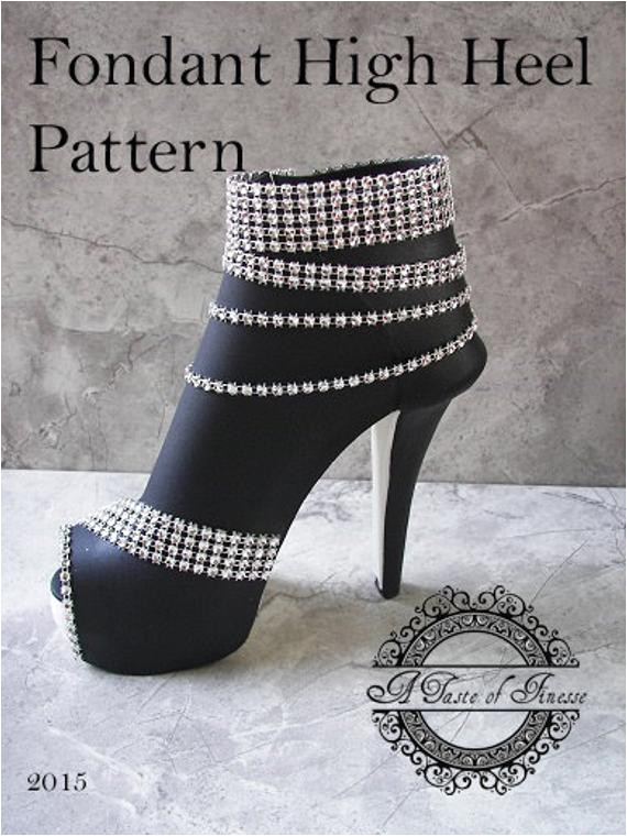 Template for Fondant High Heel Shoe Pdf Instant Download Fondant High Heel Boot Pattern
