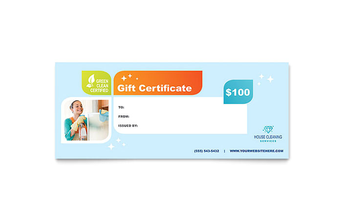 cleaning services gift certificate template design hm0122601