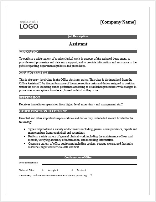 Template for Job Description In Word 11 Elements Of A Job Description form Small Business