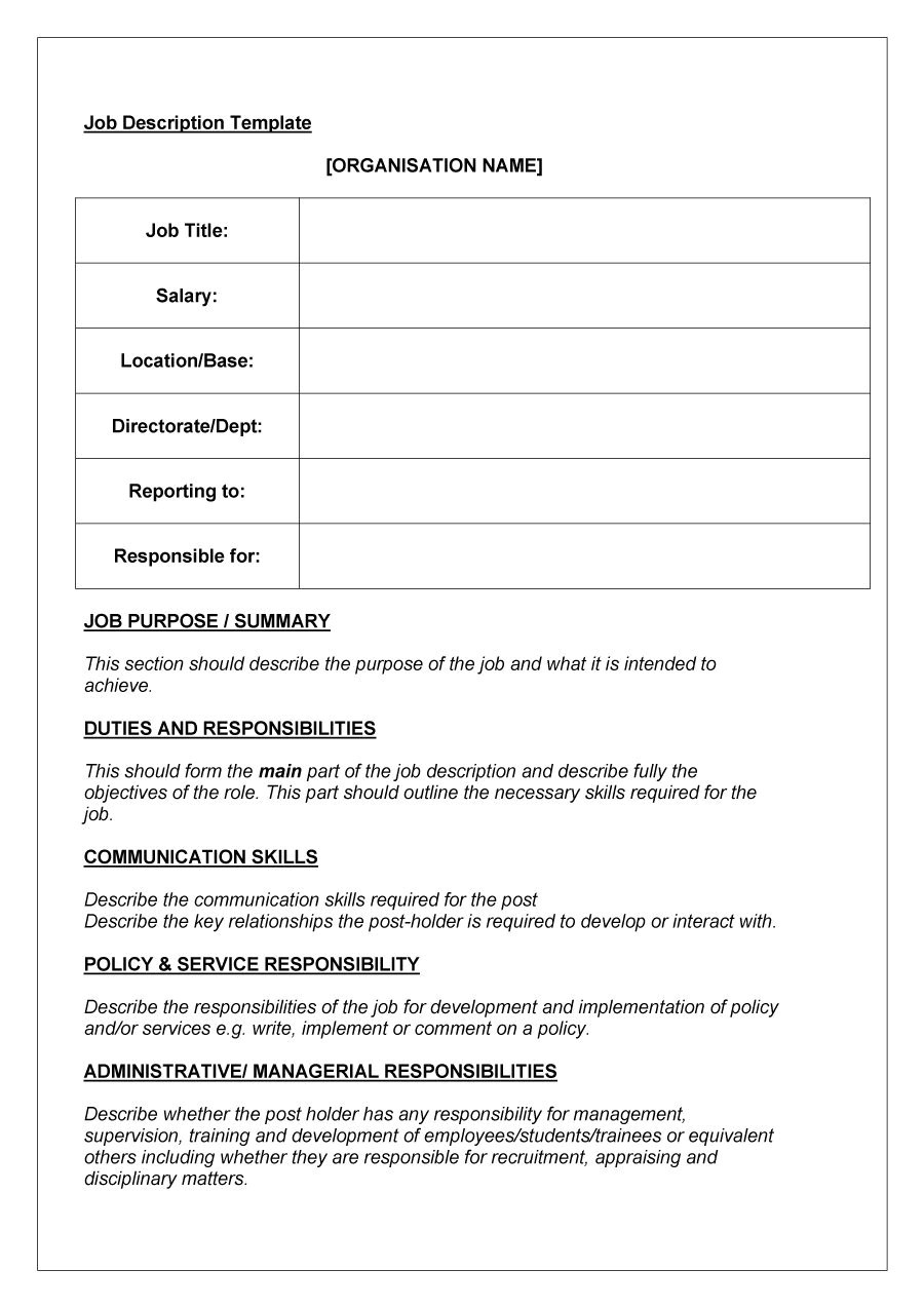 Template for Job Description In Word 49 Free Job Description Templates Examples Free