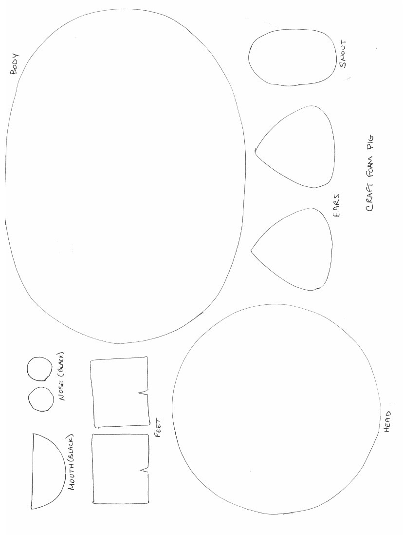 Template for Pig Ears Farm Animal Crafts Farm Animals