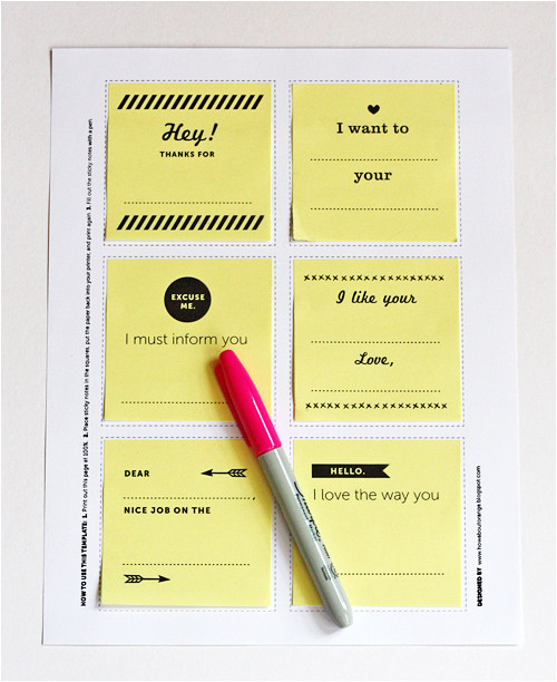 Template for Printing On Post It Notes Print Your Own Post It Notes How About orange