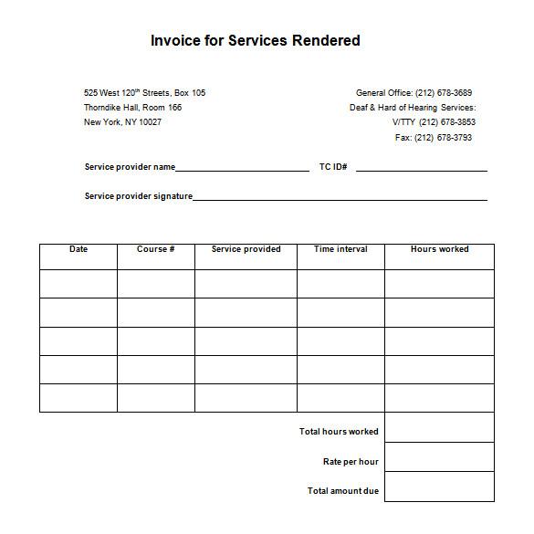 sample service receipt