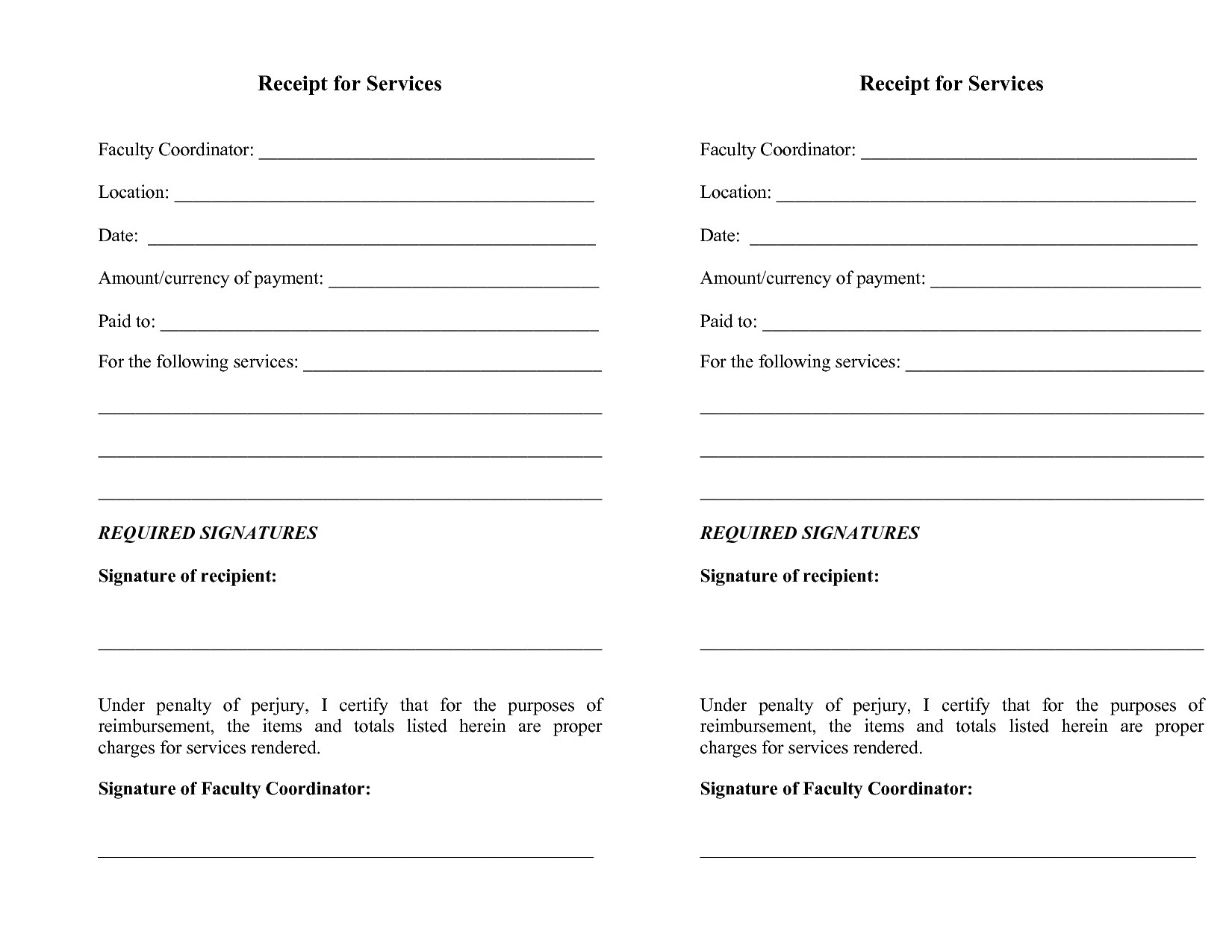 free printable receipts for services