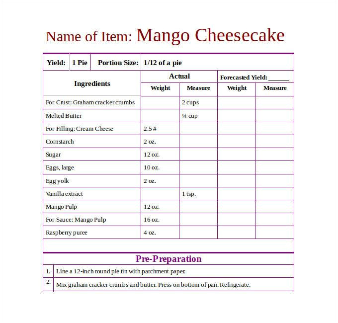 Template for Recipes In Word 43 Amazing Blank Recipe Templates for Enterprising Chefs