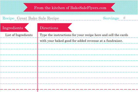 Template for Recipes In Word Bake Sale Flyers Free Flyer Designs