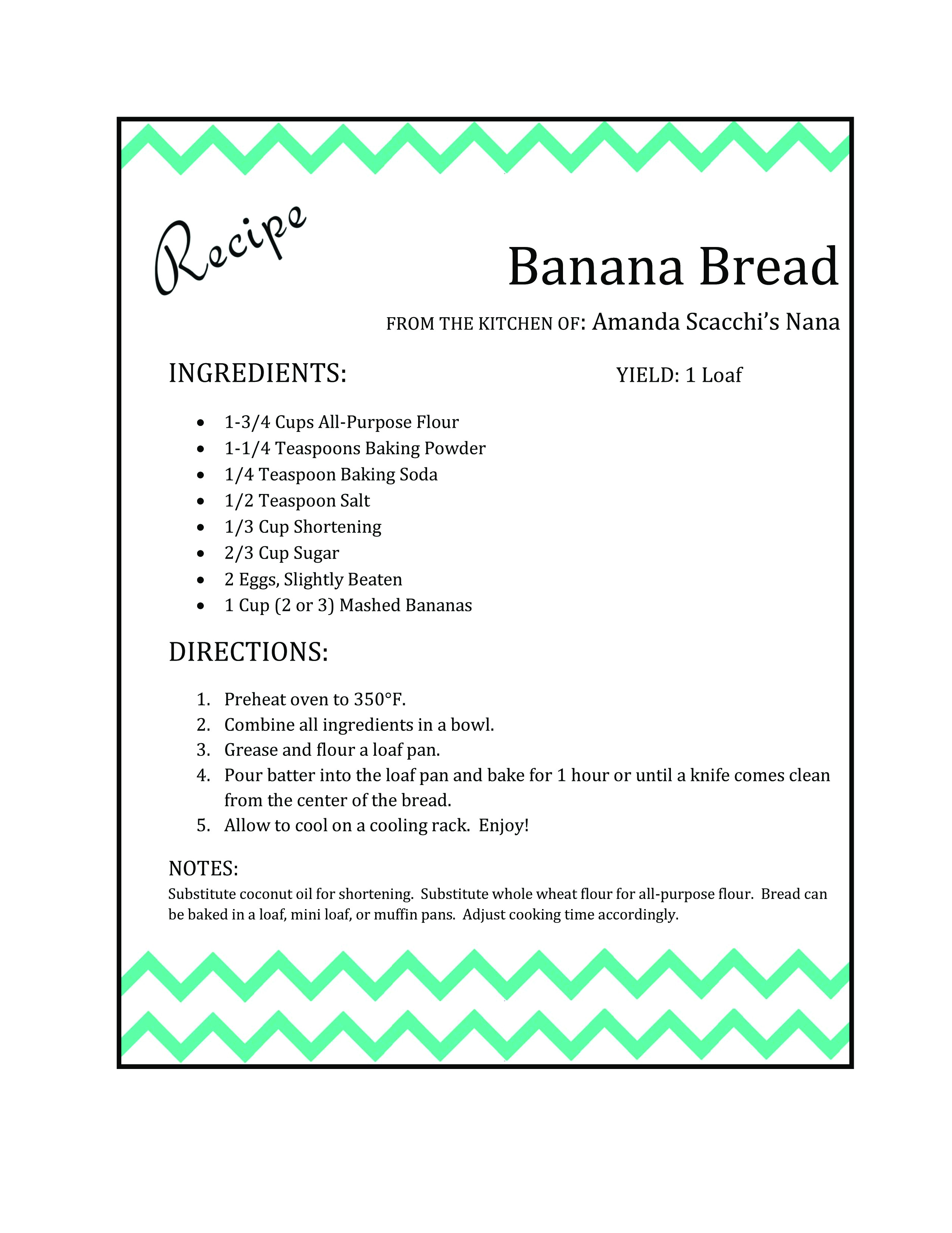Template for Recipes In Word Recipe Card the Scacchi House